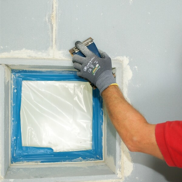 Kanten der Calciumsilikat-Platte (CalSil) abschleifen