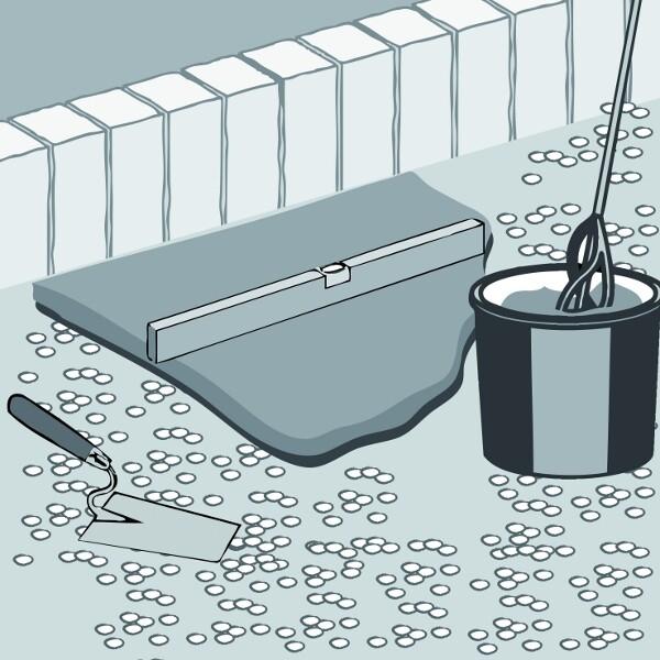 Natursteinverlegemörtel anrühren und auftragen